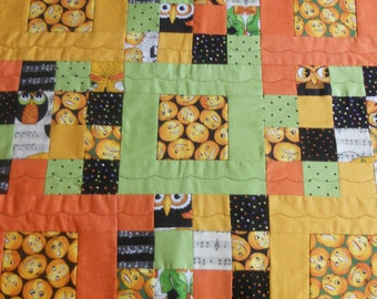 Halloween Quilted Table Runner, Patchwork Table Topper, Scrappy Nine Patch, Orange Black Green