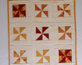 Fall Autumn Table Runner, Quilted Table Topper, Primitive, Pinwheels, Table Quilt, Rust and Gold
