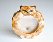Cat Picture Frame Orange Tabby Kitty by Seymour Mann Japan Vintage Cat Table Standing Frame