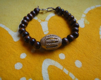 Ashanti Brass Prayer Bead Bracelet Trade Lost Wax Cast in Ghana, West Africa Mens Afrocentric Jewelry