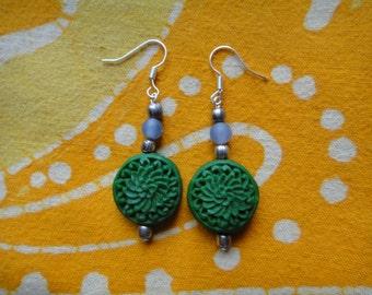 Green Cinnabar Chrysanthemum Earrings