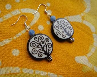 Tree of Life Charm Earrings Batik Bone and Agate Beaded Boho Hippie African Tribal