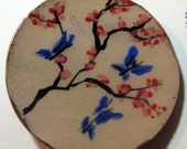 Handmade ceramic buttons -  butterfly and cherry blossom handpainted pottery button C1