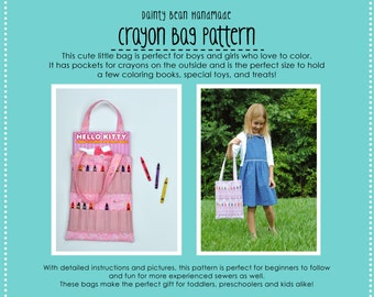 Crayon Bag Pattern - Great for Beginner Sewers - Downloadable PDF file - Sewing for Kids - Sewing Patterns for Kids