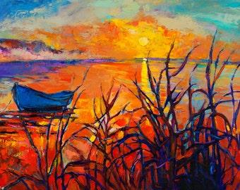 Original Oil-Blue boat 16x24in, Landscape Painting Original Art Impressionistic OIl on Canvas by Ivailo Nikolov