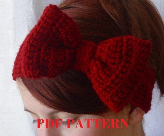 PDF PATTERN.  crochet bow headband earwarmer