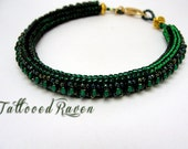 Rich Deep Green Herring Bone Stich Bracelet