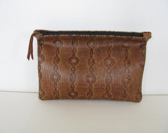 Clutch Bag / Cosmetic Bag / Hand Bag/ ipad case/sleeve---Embossed Reptile Print Leather