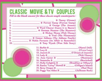 Pack of 10 Game Cards -  Bridal Shower Game: Classic Retro TV and Movie Couples
