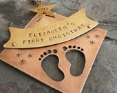 Baby's First Christmas Ornament Personalized Dated 2016 Keepsake Ornament Baby Feet New Baby New Mom