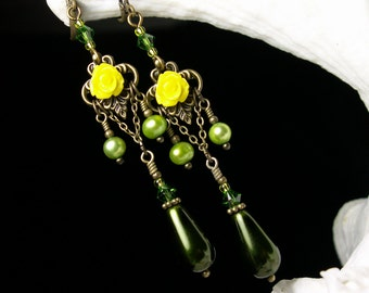 Yellow Rose Victorian Earrings, Forest Green Pearl Dangle Drops, Antiqued Brass Filigree, Titanic Temptations Vintage Bridal Style Jewelry