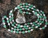 Anahata Heart Chakra Mala | 108 Meditation Beads | Genuine Gemstones Green Aventurine, Quartz, Jade, Locket | Balancing & Healing Energy