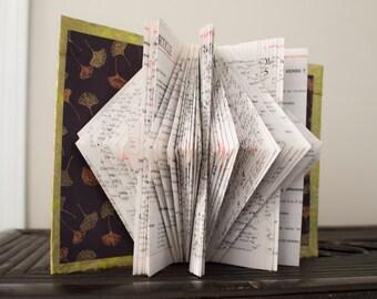 Folded Book Sculpture- Green & Purple