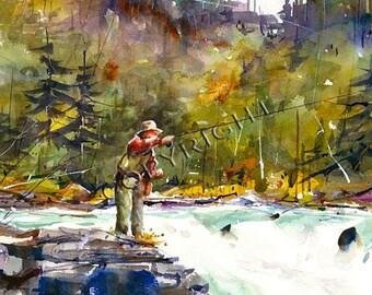 FISHING Watercolor Print by Dean Crouser