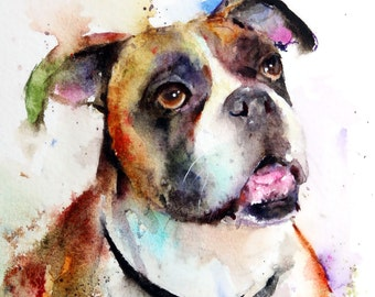 BOXER Watercolor Dog Print by Dean Crouser