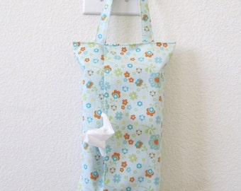 Hanging Tissue Box Cover For Skinny Kleenex/Cute Flowers