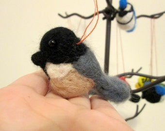 Christmas Ornament - Chickadee - Needle Felted Bird Ornament
