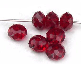 Siam Red Swarovski No. 5040 Crystal Rondelle Beads 6mm Qty 10