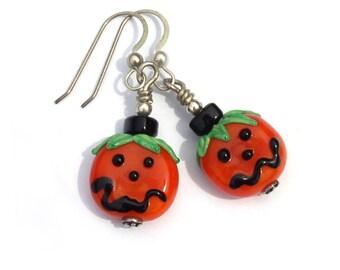 Jack o Lantern Halloween Pumpkin Earrings