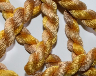 Embroidery Thread - Cotton Perle 8 - Hand Dyed Variegated Pale Yellows and Fawns - Skein Ref. 5326