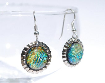 Mini Bottle Cap Dichroic Glass Earrings, Fused Glass Jewelry, Sterling Hooks  - Galaxy, Nebula, Fireworks - Bright Colors (Item #30831-E)