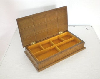 Vintage Jewelry Box Brown Wood Yellow Felt Men's Jewelry Box Mid Century Jewelry Box GallivantsVintage