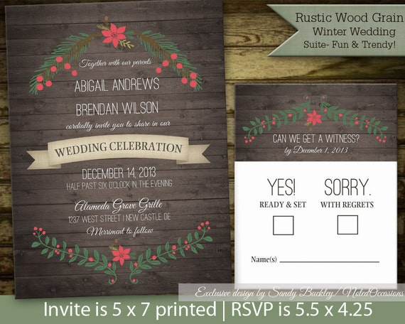 Ready To Print Wedding Invitations: Items Similar To Rustic Winter Wedding Invitation Suite