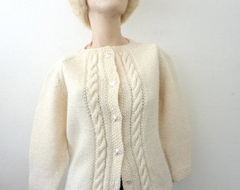 1950s Wool Sweater / cable knit cardigan / vintage fashion