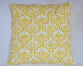 CLEARANCE:  Yellow Cotton Damask 16x16 Pillow Cover with Handsewn Fabric Rose