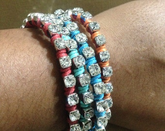 On Clearance Stackable Rhinestone bracelets made with leathefriendship bracelets, hand woven bracelets