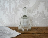 Vintage Clear Glass Dinner Bell Dining Entertaining Home Decor Collectible Wedding or Hostess Gift