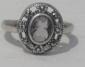 Beautiful Vintage---925 Light Smokey TOPAZ --- Faceted CUSHION  Cut---MARCASITE Accented --Size  8