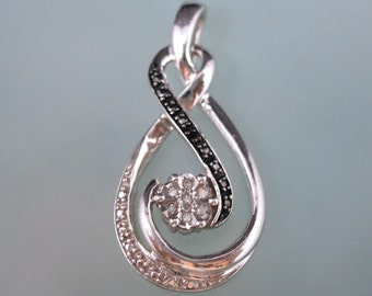 Really Pretty --NATURAL DIAMOND 925 -- Black and White Diamond-- Eternal Love Pendant Necklace