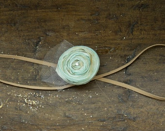 Beautiful single rose skinny headband CELERY  with swarovski crystal and tulle distressed rose flower hair colors all sizes