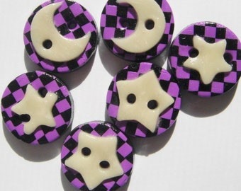 Button Hocus Pocus Glow in the Dark Moon and Stars handmade polymer clay buttons ( 6 )