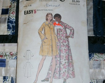 Vintage 1960s Butterick Pattern 6949 for Misses Robe Size 14, Bust 36""