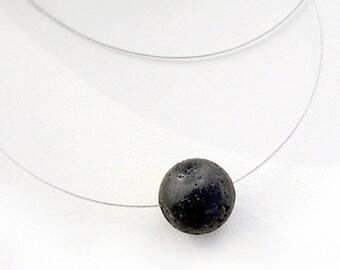 Black Lava Necklace, Single Bead Solitaire Necklace, Minimal Geometric Necklace, Simple Everyday Necklace, Santorini Black Lava Necklace
