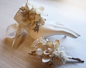 Wrist Corsage and/or Boutonniere, Sola Flowers, Birch Bark, Rustic, Country, Winter, Woodland, Wedding. Made to Order.