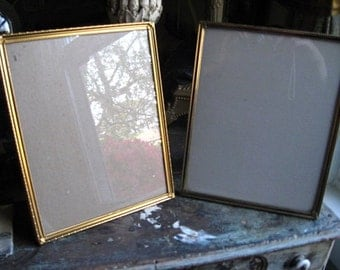 Two Gold Tone Metal Photo Picture Frames Free standing or Wall Mount