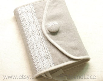 Bible cover, Hobonichi cover Journal Cover  in  linen with white lace ,crochet,linen,cotton, custom made