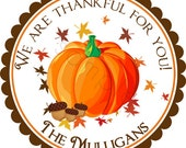 Fall Pumpkin - Personalized Stickers, Party Favor Labels, Address Labels, Holiday, Thanksgiving, Rustic Wedding - Choice of Size