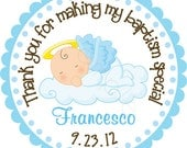 Our Little Angel Baby Boy Personalized Stickers - Party Favor Labels, Address Labels, Christening, Baptism, Bautizo - Size Choice