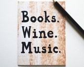 Books Wine Music card birthday greeting notecard