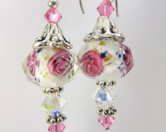 Pink and White Multi Rose Lampwork Glass with Swarovski  Earrings
