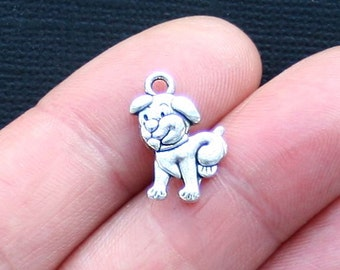 8 Dog Charms Antique  Silver Tone 2 Sided Puppy - SC3179