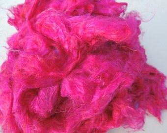 NEW Color Fuschia Carded Sari Silk Fiber Roving Form 4 Ounces So Soft And VIVID