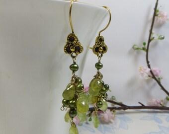Green Garnet Earrings, Garnet Cluster Earrings with Freshwater Pearls, Green Garnet and Vermeil Earrings, Handmade Green Gold Earrings