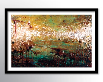 11x17 Abstract Painting PRINT on Paper Cover Stock, Wall Art, Earth Tone Colors by Federico Farias