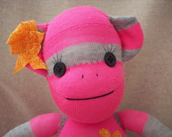 A Sock Monkey in Hot Pink and Grey- Britta