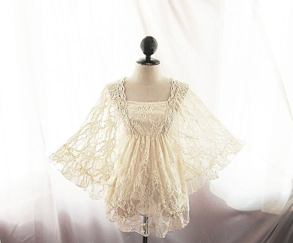 Victorian Kimono Lace Medieval Cream Angel Alice in the Wonderland Ballerina Ethereal Elven Sexy Dress y Marie Antoinette Jane Austen Top